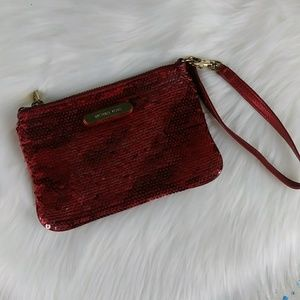 Michael Kors Wristlet Red Sequined Wallet Sequins